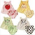 0 ~ 2 años de edad bebé de moda de verano de dibujos animados juegos del chaleco del algodón muchachas de los bebés ropa dress suit