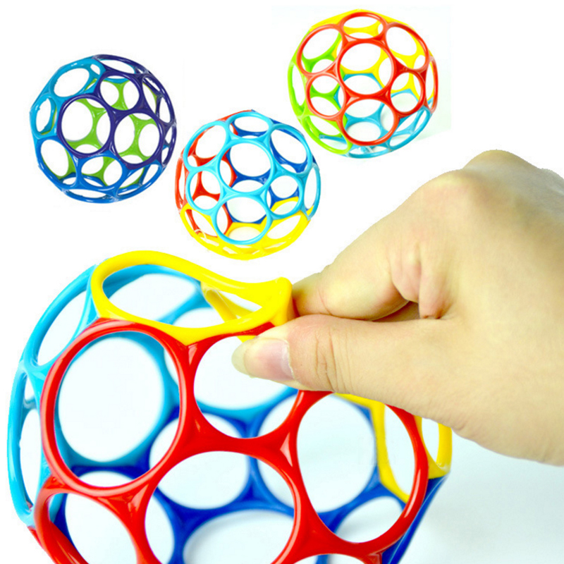 Large Rattles Develop Baby Intelligence Grasping Gums Wave Ball Hand Bell Fun Bite Catch Hole Kids Toys For Newborns