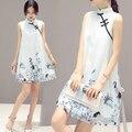 2016 Verão Retro Chinês Tradicional Algodão Mulheres Acima Do Joelho Cheongsam Sem Mangas Fêmea Chinoise qipao Sólida Design Casual