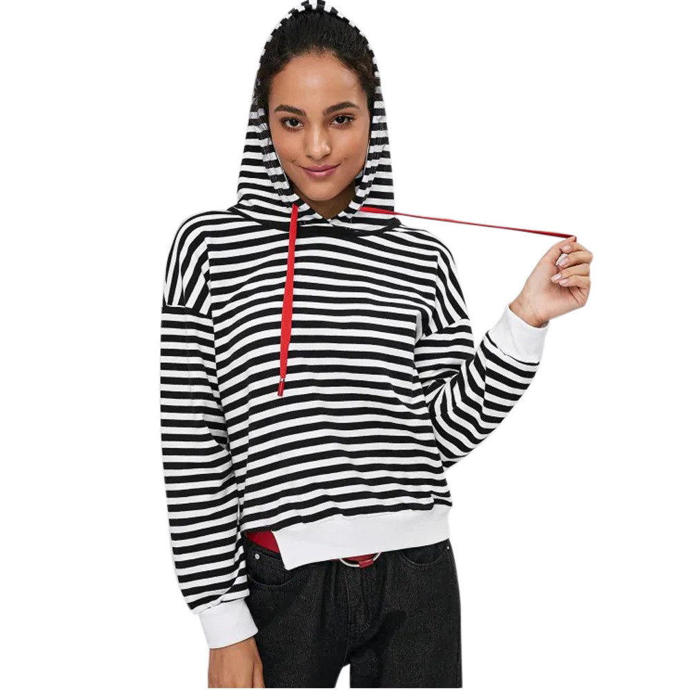 Feitong Women Sweatshirts Long Sleeve Autumn Hoodie Cutout Stripes Hoodie Tops Shirt