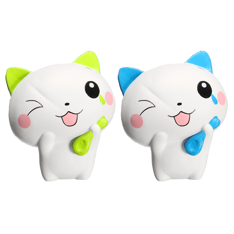 Cute Cat 13cm Slow Rising Collection Gift Cute Decoration Blue Green Color Soft Toy Children Kids Reduce Stress