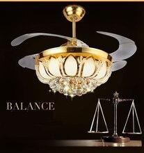 42 LED ゴールデンクリスタル インチ天井のシャンデリアのファンライトファンシャンデリアコントローラリビングルームベッドルームダイニングルームのファッション