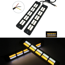 2x LED Auto Turn Signal Light Strip Daytime Running Light Car Silicone Waterproof DRL COB LED Medium Lights Car Styling цена в Москве и Питере