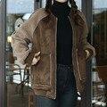 Женщины Молния основные замши пальто куртки 2017 мода кожаная куртка Женщин пиджаки черный хаки теплая зима большой карман куртки