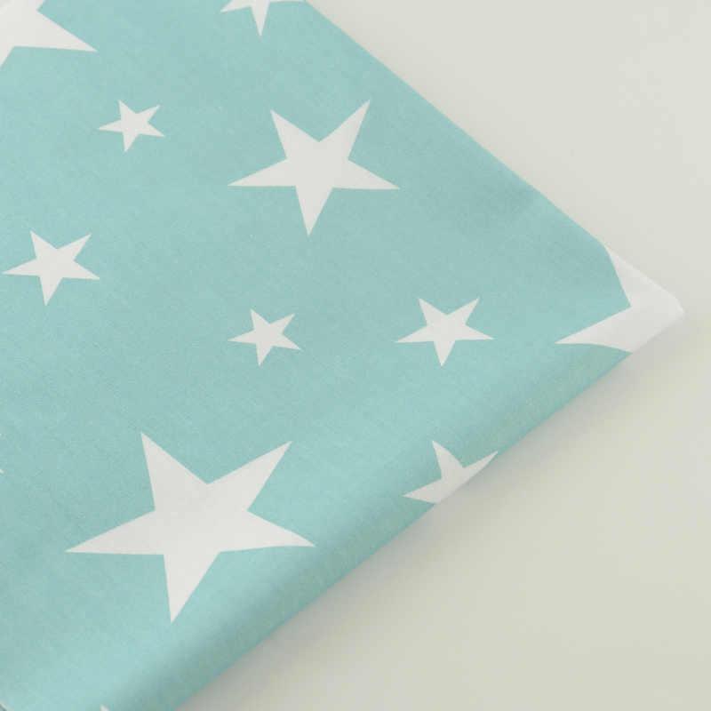 Vestiti del bambino Bianco Lucido Stelle Disegni di Luce Blu Tessuto di Cotone Twill Quilting Patchwork Biancheria Da Letto Arte Lavoro Tenda Scrapbooking
