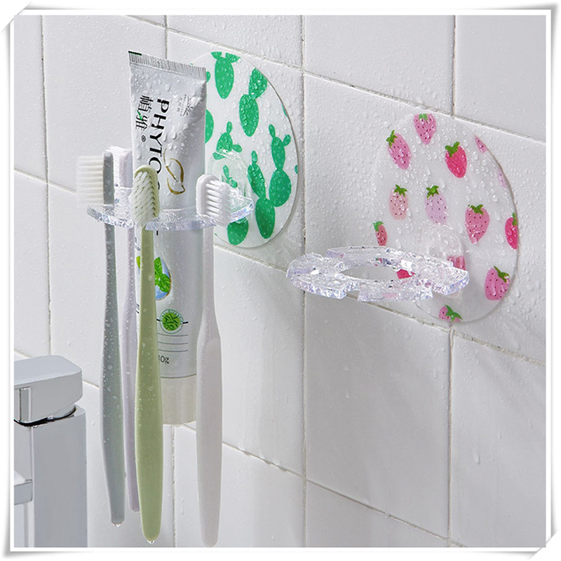 Plastic Tooth Brush Wall Rack Plastic Toothbrush Organizer Toothpaste Tools Shaver Support Brushes Teeth Stand Bathroom Holder