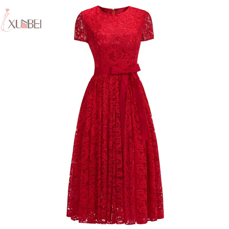 2019 Red Lace Short   Prom     Dresses   Scoop Neck Sleeve   Prom   Gown Vestido de festa