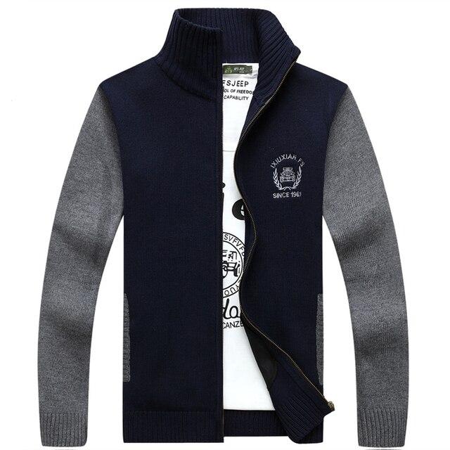 Mens Plus Size Cardigan Camisola dos homens Cashmere Quente de Malha Grossa Camisola Camisa Homens Sweter Hombre Sueter Masculino CB03