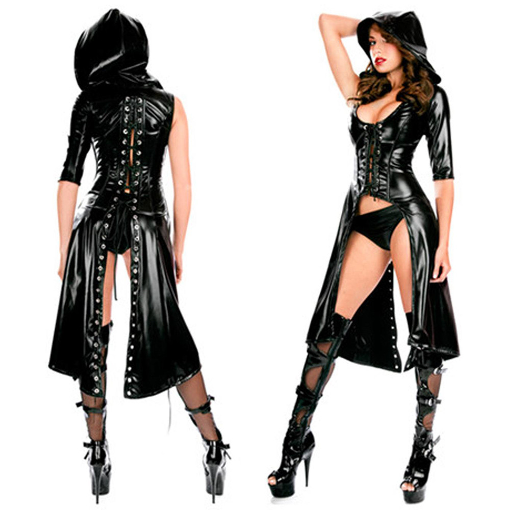 Black Bodysuit Gothic Punk Wetlook Hooded Coat Latex PVC Lingerie Set One Shoulder Coat With Thong Sexy Women Party Clubwear