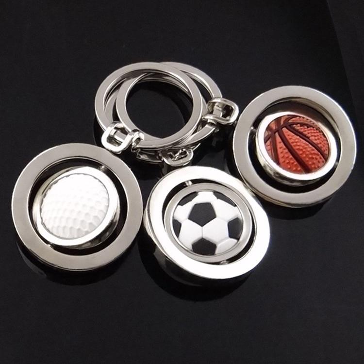 3D Sports Rotating Basketball Football Golf keychain Keyring souvenirs Pendant Keyfob key chain key ring Key Holder Rotate