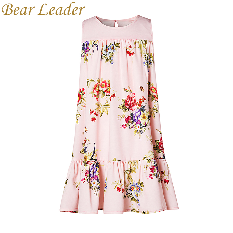 Bear Leader Girls Dress 2017 New Girls Clothes European And American Style Flowers Print Sleeveless Princess Dress For 4-14Years bear leader girls dress 2016 new summer style party dress stella the swallow embroidered sleeveless dress girls princess dress