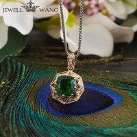 JEWELLWANG Natuurlijke Diopside Hangers voor Vrouwen 18 K Rose Gold Diamond Ketting Brilliant Hanger Gift Luxe Hanger Fijne Sieraden