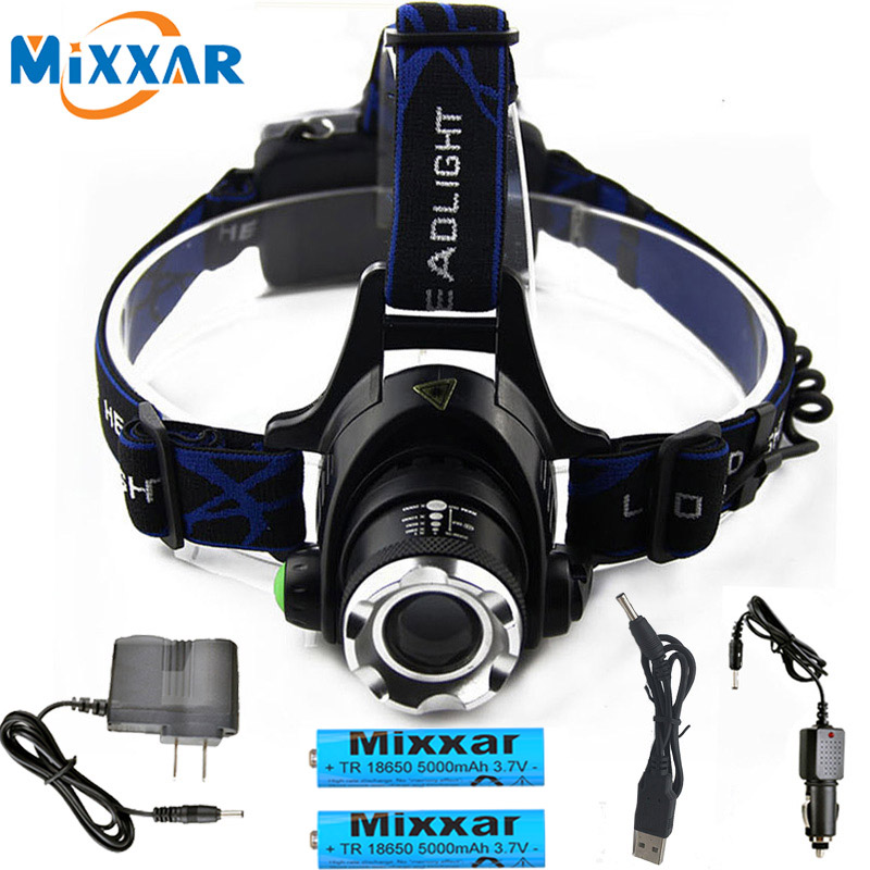 DropshippingPowerful T6 L2 headlights headlamp Zoom waterproof 18650 rechargeable battery Led Head Lamp Camping Hiking Light