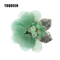 TDQUEEN Natural Stone Brooches For Women Vintage Handmade Flower Hijab Pin Jewelry Antique Silver Plated Pins