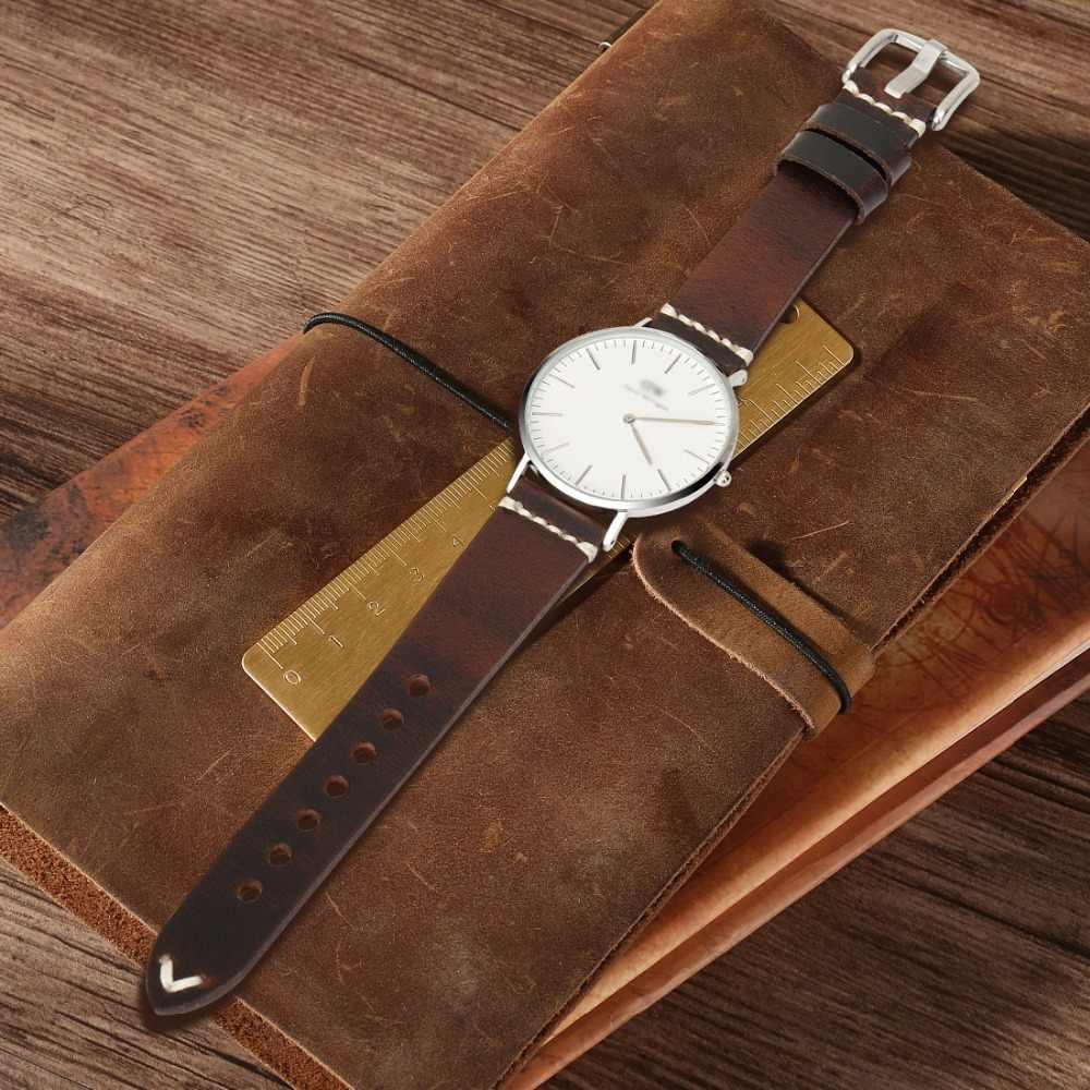 MAIKES Hakiki Deri Kordonlu Saat 20mm 22mm 24mm Izle Aksesuarları Izle Sapanlar Vintage Bilezik saat kayışı Için VATANDAŞ Izle