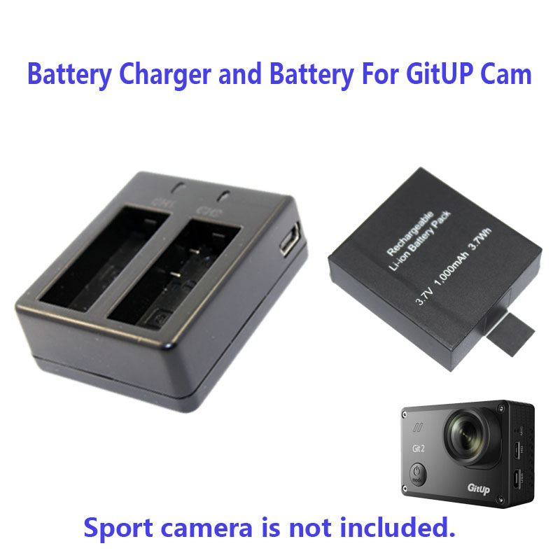 Free Shipping!!1000mAh or 950mAh Backup Rechargable Li-on Battery For GitUP Git2 Sport Camera DV+1pcs Battery Charger