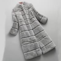 Rabbit Fur Coat Fur Real Winter Warm Luxury Festival Holiday New Long Overcoat Hook and Pockets Women Winter Jacket sr616