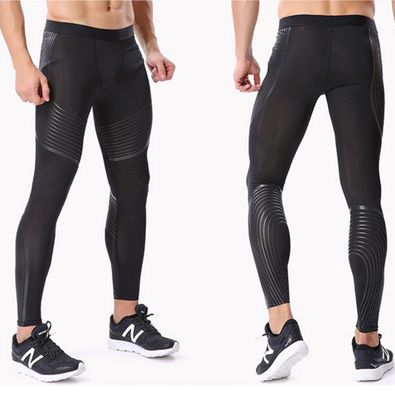 Male's Bodyboulding tights Men's Compression Pants printing Fitness tights Elastic Trousers men gym running sport leggings mens