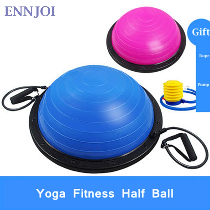 ENNJOI High Quality Yoga Ball Body Balance Half Yoga Ball Fitness BOSU Ball Exercise Gym Ball with Resistance Band Inflator Pump gym crossfit fitness massage lacrosse ball therapy trigger full body exercise sports yoga balls relax relieve fatigue tools