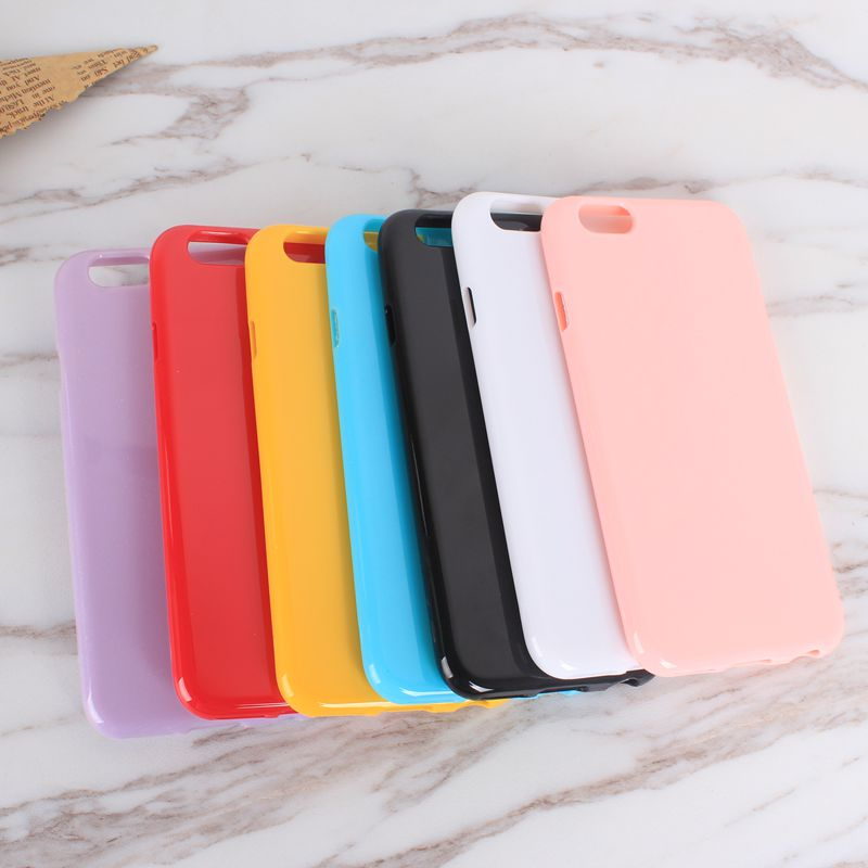 Soft Candy Color Glossy TPU for iPhone 6 Case 6s 7 8 Silicone Case for iPhone 7 Case 6 6s 7Plus 5 5s Girl 360 Degree Full Cover