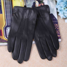Genuine Leather Gloves Mens Sheepskin Fashion Thin Short Driving Windproof Touch Screen TM27002-5