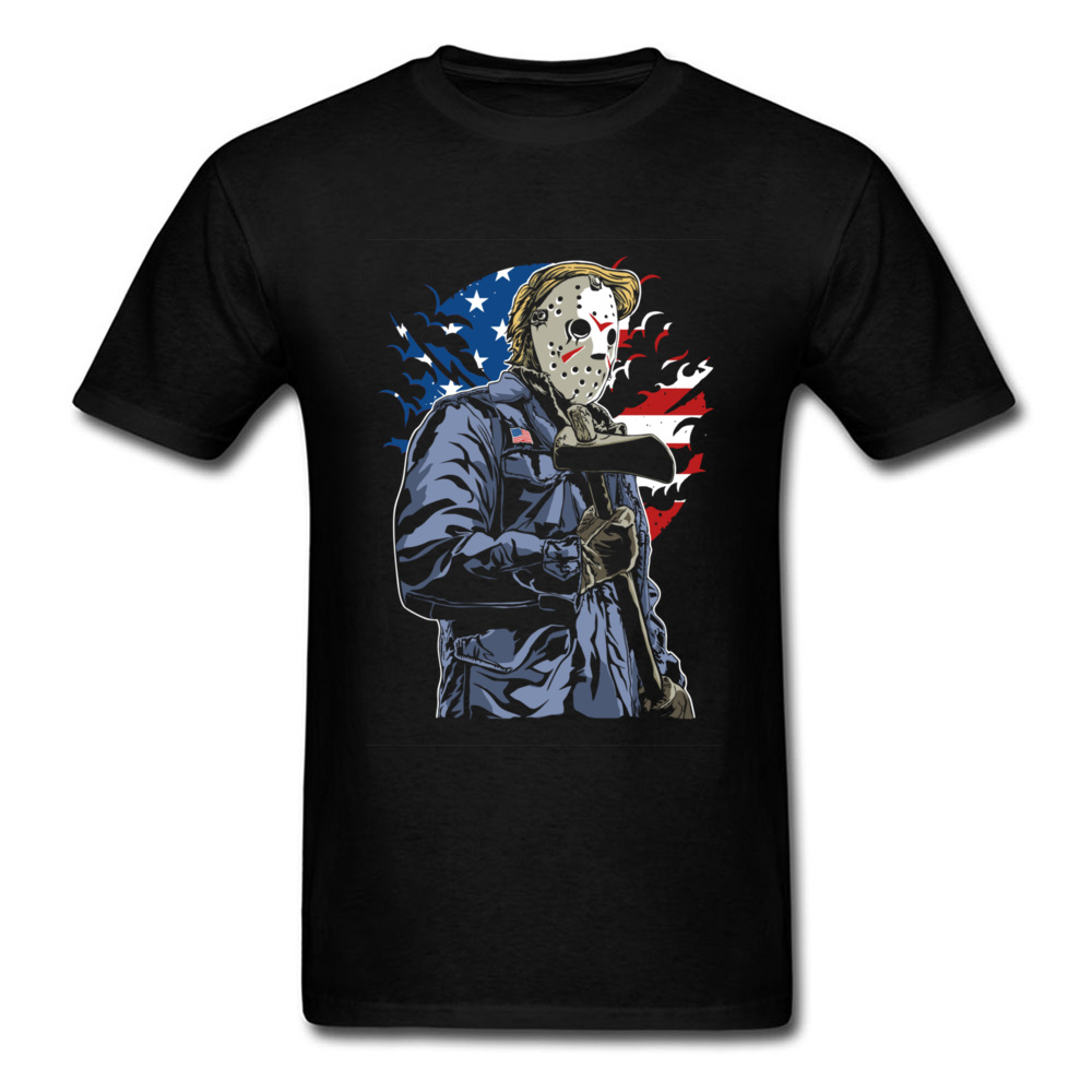 Mask Man With Ax Vintage US Flag Print Men Black T-shirt Crazy Character Short Sleeve Cotton Tops Tees Funky College T Shirt