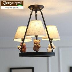 Qiseyuncai American cartoon LED dziecko żyrandol chłopiec dziewczyna sypialnia tkanina żakardowa pokrywa oświetlenie domu poprawy