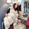 Three color new fashion fox fur short paragraph fur vest jacket was thincollar irregul  Artificial fur