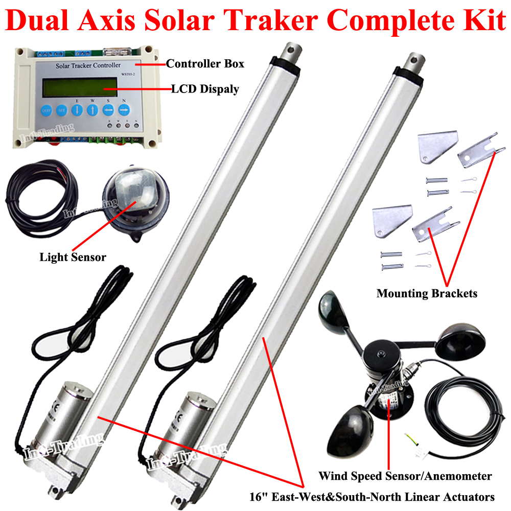Electric Dual Axis Solar Tracker 16 Linear Actuator 1500n Dc Motor Controller Lcd Anemometer Diy Panel Tracking System In From Home