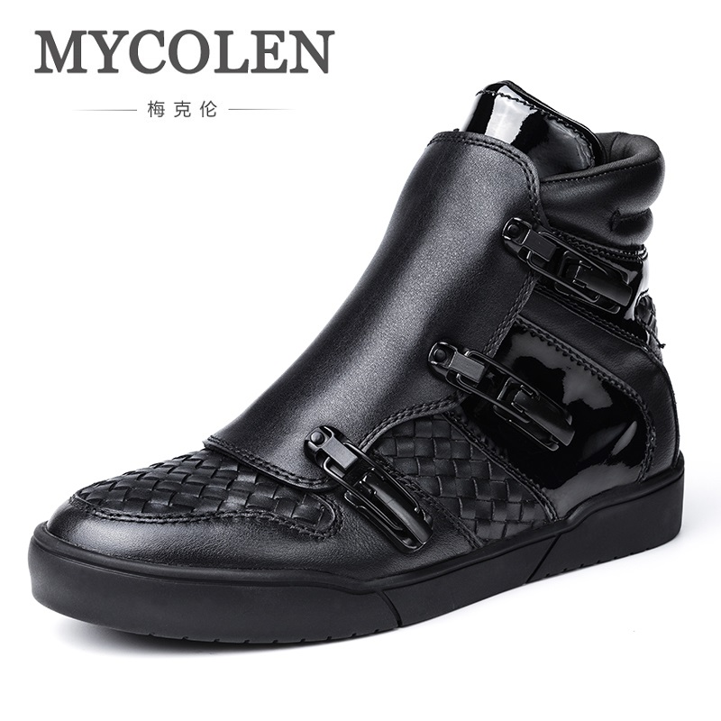 MYCOLEN Genuine Leather Ankle Boots For Male Plush Men Boots Warm Winter Shoes With Fur Fashion Martin Boots Winterjas Heren