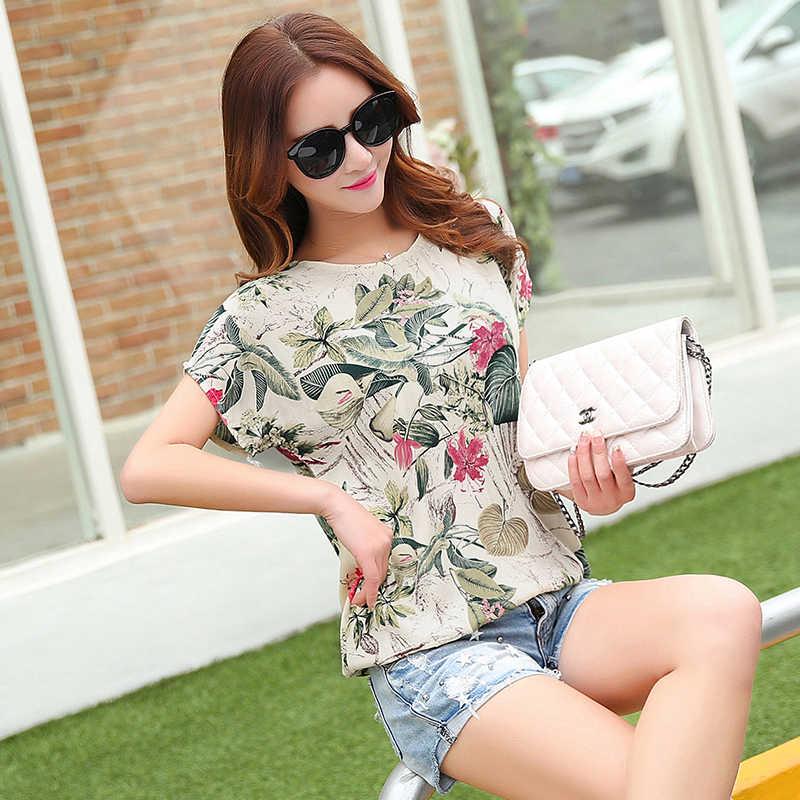 8ff2a168ba8 ... Cotton Linen Summer Blouses Shirts Women Top Loose Blusa Mujer Vetement  Femme 2019 Fashion Short Sleeve ...