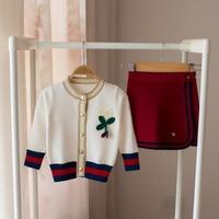 Baby Girls Clothing Set Sweater Long Sleeve Cardigan +Short Skirt 2017 Knitting 2PCS Fashion Clothing Set Cut Cherry Set