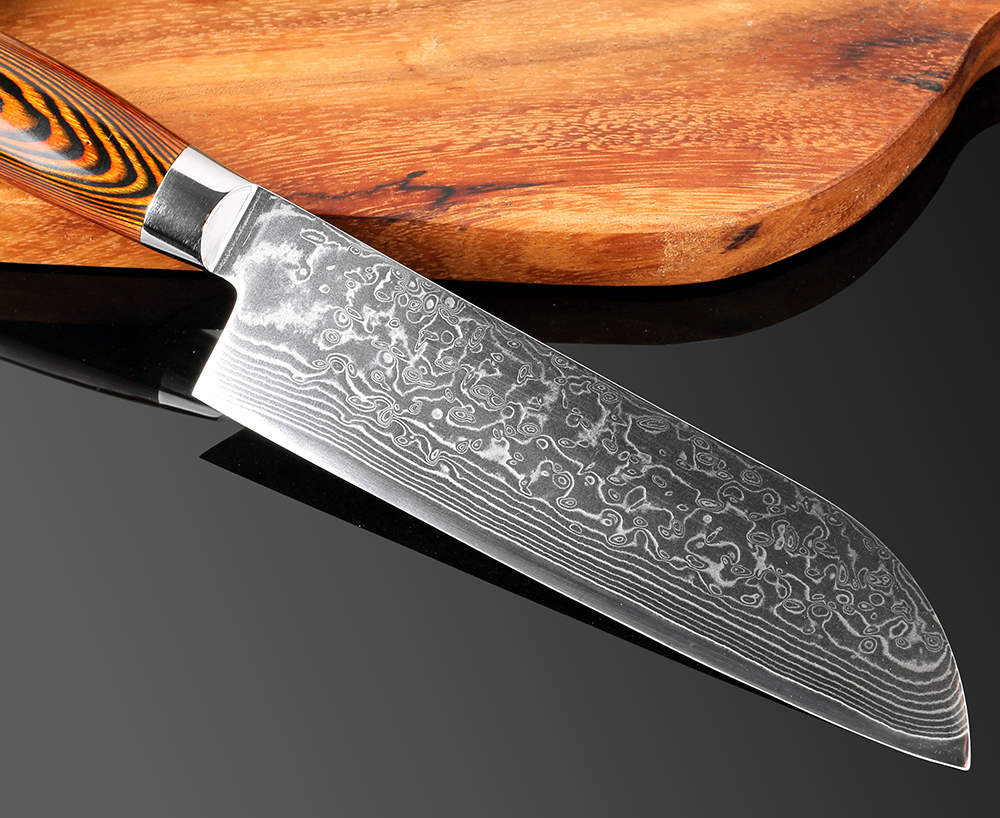 Kitchen Knife 7 inch Professional Chef Knives Japanese VG10 Damascus High Carbon Stainless Steel Meat Santoku Knife Pakka Wood in Kitchen Knives from Home Garden