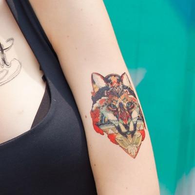 Tatuaje Temporal Pegatinas Mujeres Hombres Color Fresco Lobo