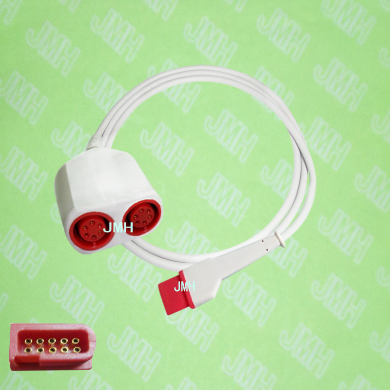 Compatible with Spacelab 90496 and 91496 the IBP transducer interface cable,10pin to 6pin*2. free shipping compatible for drager 8060 to abbott transducer ibp adapter cable red 10pin ibp cable tpu patient monitor cable