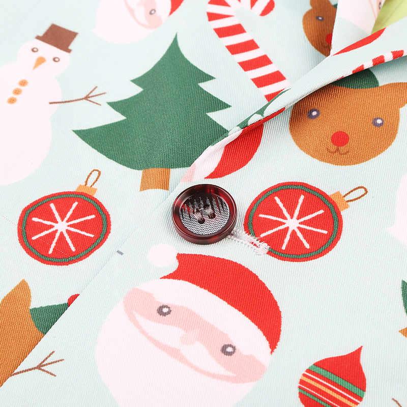 2019 חג המולד סנטה קלאוס גברים בלייזר בגדי יוקרה מעצב Mens בלייזר הדפסת מעיל אופנתי מפואר מותג פרחוני חליפות טרייל