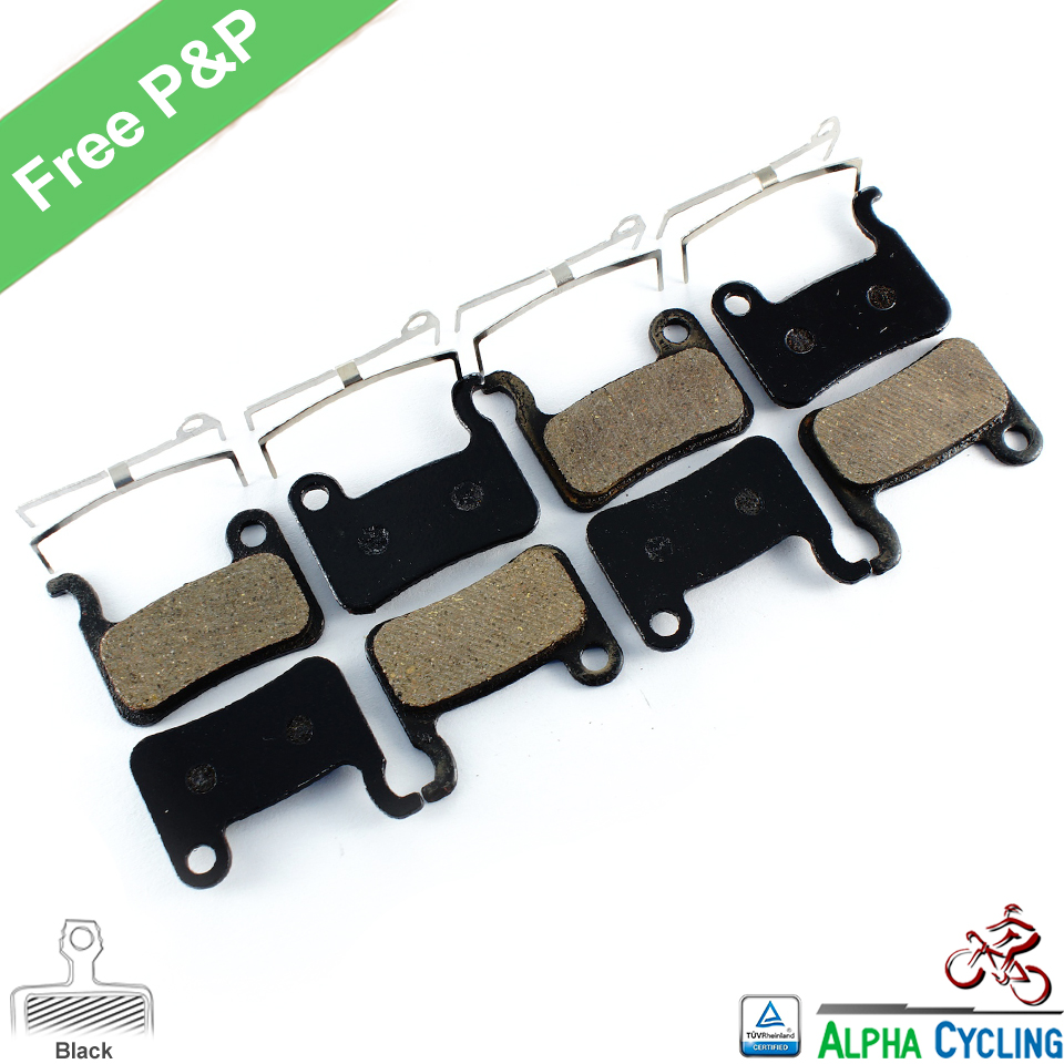 Bicycle Disc Brake Pads for Shimano Deore M596/SLX M665/M775/M765/M596 Disk Brake, Black RESIN, 4 Pairs