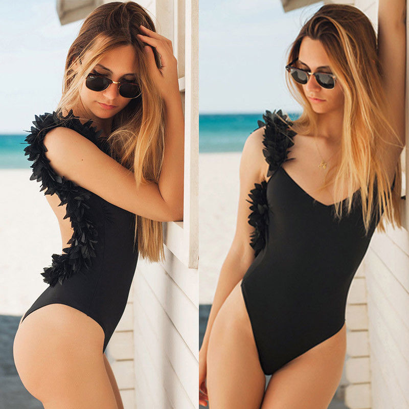 ITFABS Women Bikini One-Piece Bathing Black White Colors Backless Swimwear Swimsuit Monokini Black White Clothing