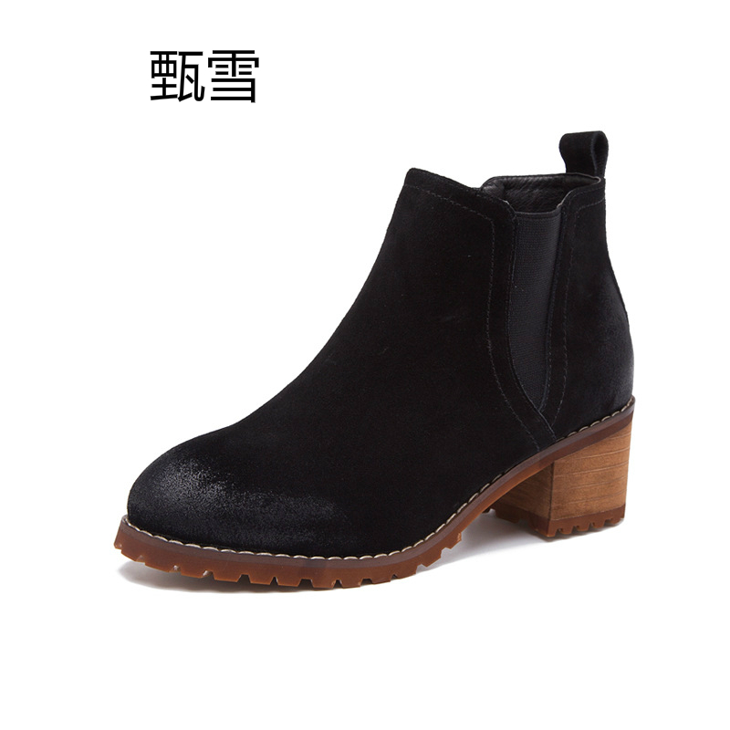 2017 New England Scrub Ankle Boots With Chelsea Boots Leather Boots With Thick Round Short Boots new england textiles in the nineteenth century – profits