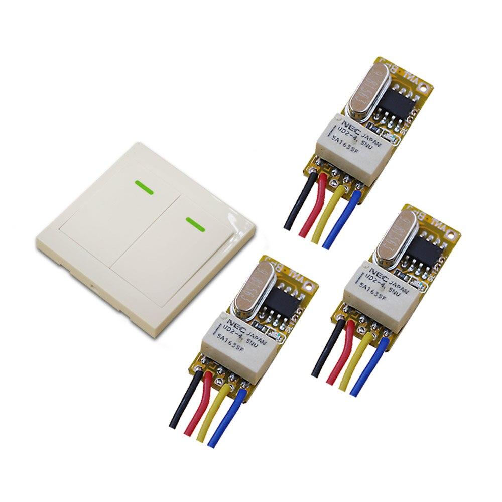 DC 3.5V 4.5V 5V 6V 7.4V 9V 12V Wireless Remote Control Switch Micro Relay Receiver + Wall Transmitter 315Mhz/433.92Mhz самокат 978 5 91759 315 9
