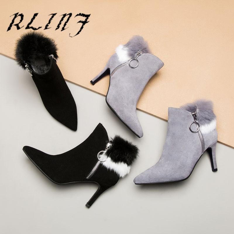 Cuero Delgados Conejo Para Calientes gris Negro Rlinf Mujer Zapatos Tacón Alto Salvajes De Sxfq16w
