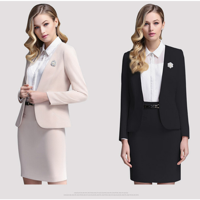 New Elegant Women Skirt Suits New Fashion Women Long Sleeve Slim Business Work Suits OL Two Piece Solid Female Office Skirt suit dabuwawa two colors winter basic pleated skirt women long skirt solid office elegant black woolen skirt