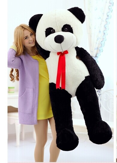 150 cm panda plush toy lovely silk belt panda doll birthday gift w6850 the lovely panda toys sitting panda plush doll with red heart soft toy birthday gift about 30cm