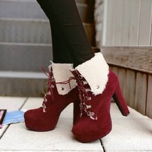 2017 autumn and winter new high-heeled boots Europe and the United States wind waterproof suede with a large size of women's boo