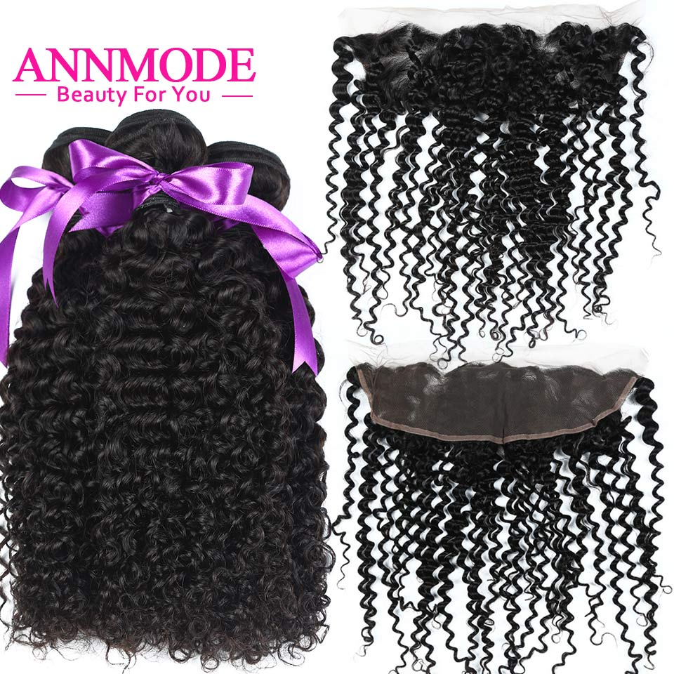 Annmode Brazilian Kinky Curly Bundles With Frontal 3 Bundles Human Hair With Frontal Non Remy Hair Extension Natural Color