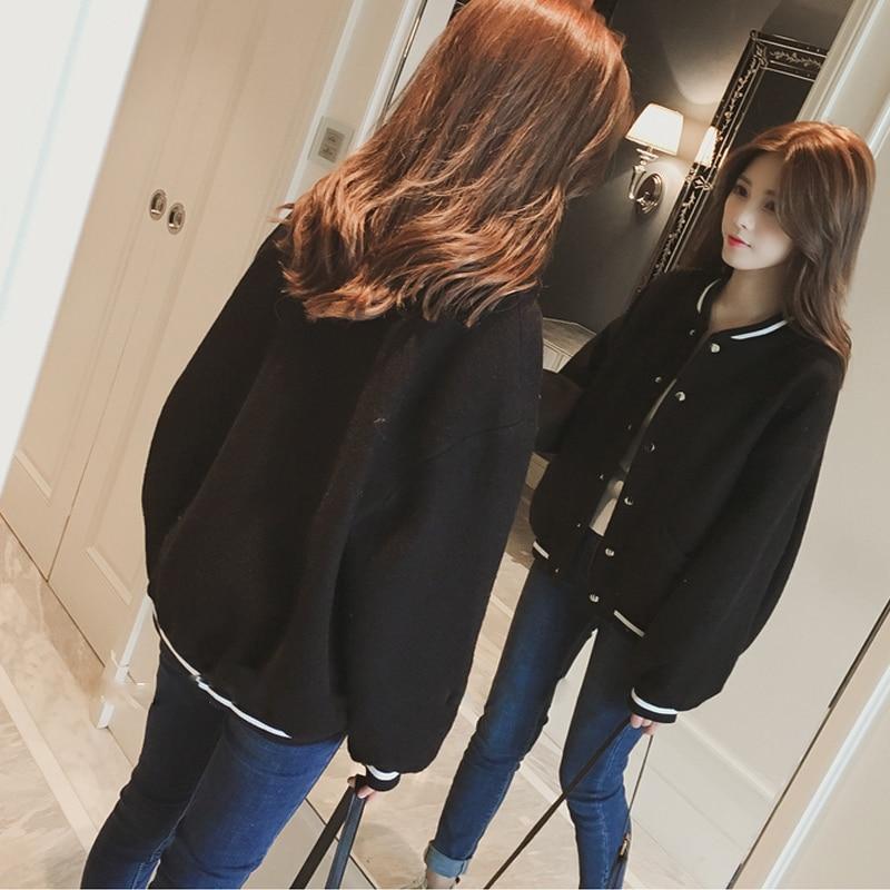Modis hiver manteau de laine était mince uniforme de baseball femme lâche coréen étudiant veste courte femme à manches longues veste femmes