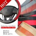 Cuero Artificial Cubierta del Volante del coche Con Agujas e Hilo Negro Gris Car Styling Accesorios de Automóviles Decoración Protector