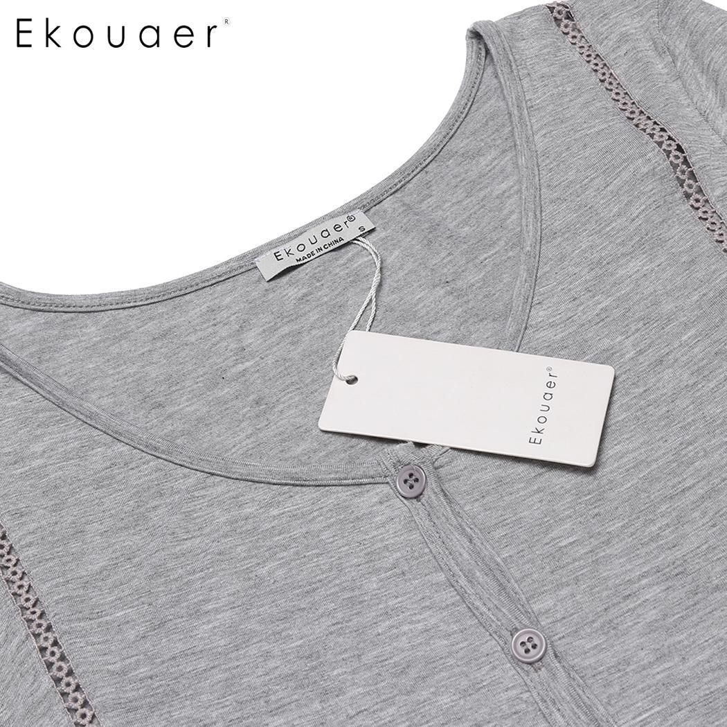 Ekouaer Women Nightgowns Nightdress Short Sleeve Button Front Female Night Gown Sleep Shirt Dress Sleepwear Plus Size S-XXL 3