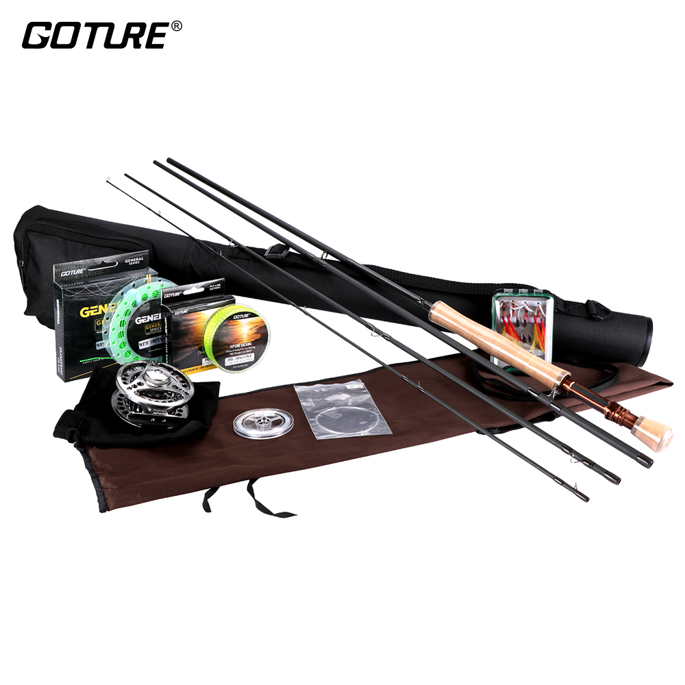 Goture Fly Rod Combo 2.7M/3.0M Fly Fishing Rods, 5/6 7/8 Fly Reel CNC-machined Aluminum, 16pcs Dry/Wet Flies Streamer for Trout mnft 10pcs 6 black attractor worm woolly bugger green flies fly fishing trout fishing streamer