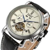 ساعة يد فاخرة من Jaragar للرجال مزودة بتقويم كامل من الجلد وتعمل كساعة يد آلية Erkek Kol Saati Montre Homme-في الساعات الميكانيكية من الساعات على